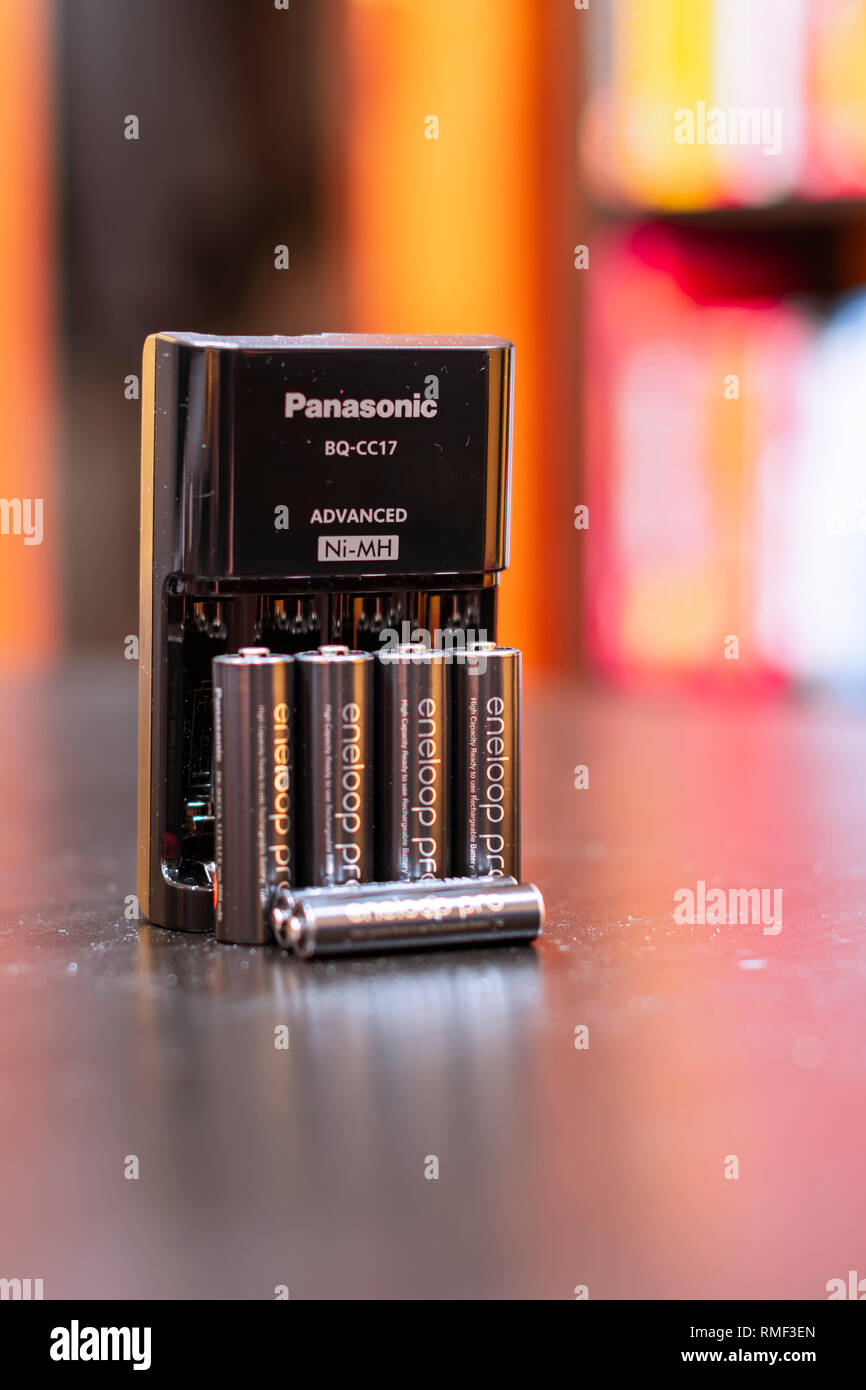 Chicago, Illinois, United States - February 1 2019: Shot of Panasonic Eneloop Pro rechargeable nickel metal hydride (Ni-MH) batteries. Stock Photo