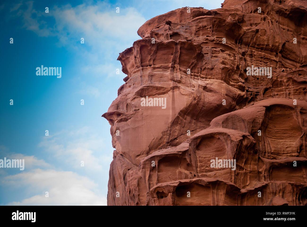 "The ""Face Rock"" in Wadi Rum, Jordan, Middle East Stock Photo"