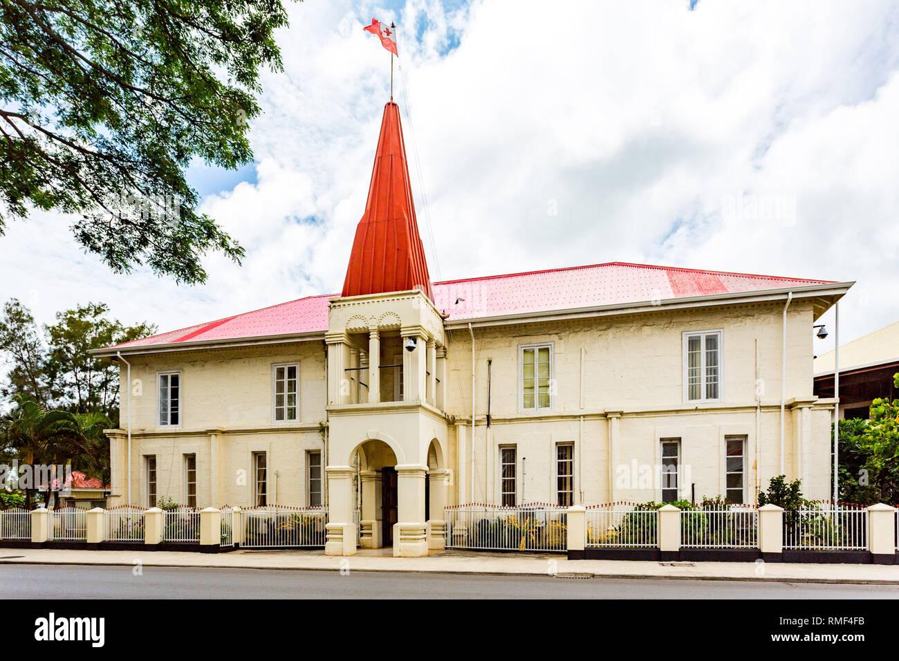 Prime Minister's Office, historic stone building in the centre of Nukualofa or Nuku'alofa city, Tongatapu island, Kingdom of Tonga, Polynesia, Oceania Stock Photo