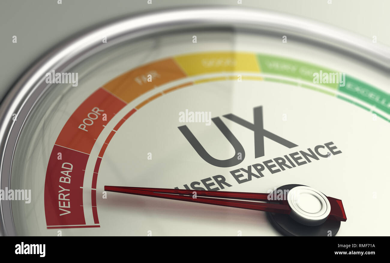 3D illustration of an user experience gauge with the needle pointing very bad UX design. - Stock Image