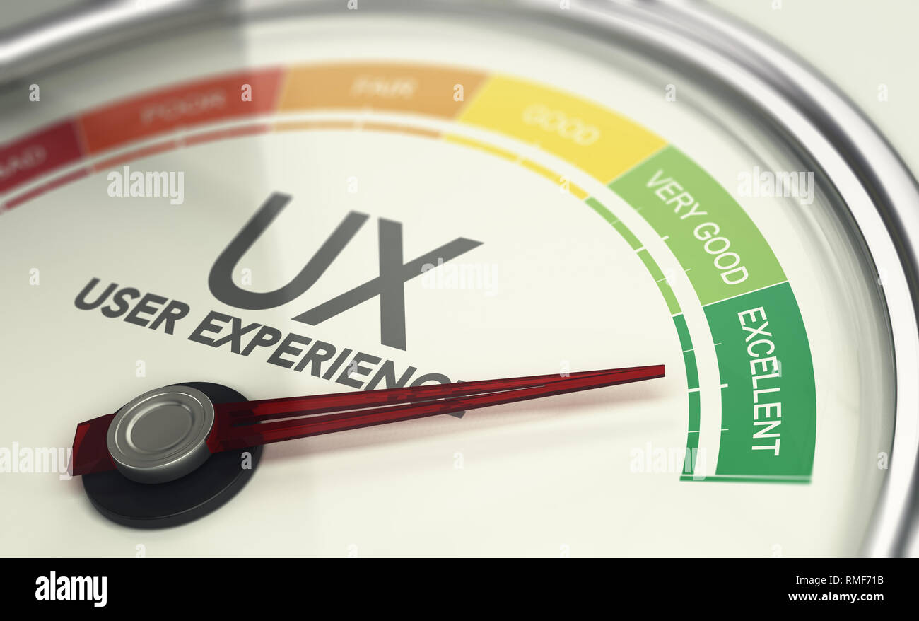 3D illustration of an user experience gauge with the needle pointing excellent UX. Marketing concept - Stock Image
