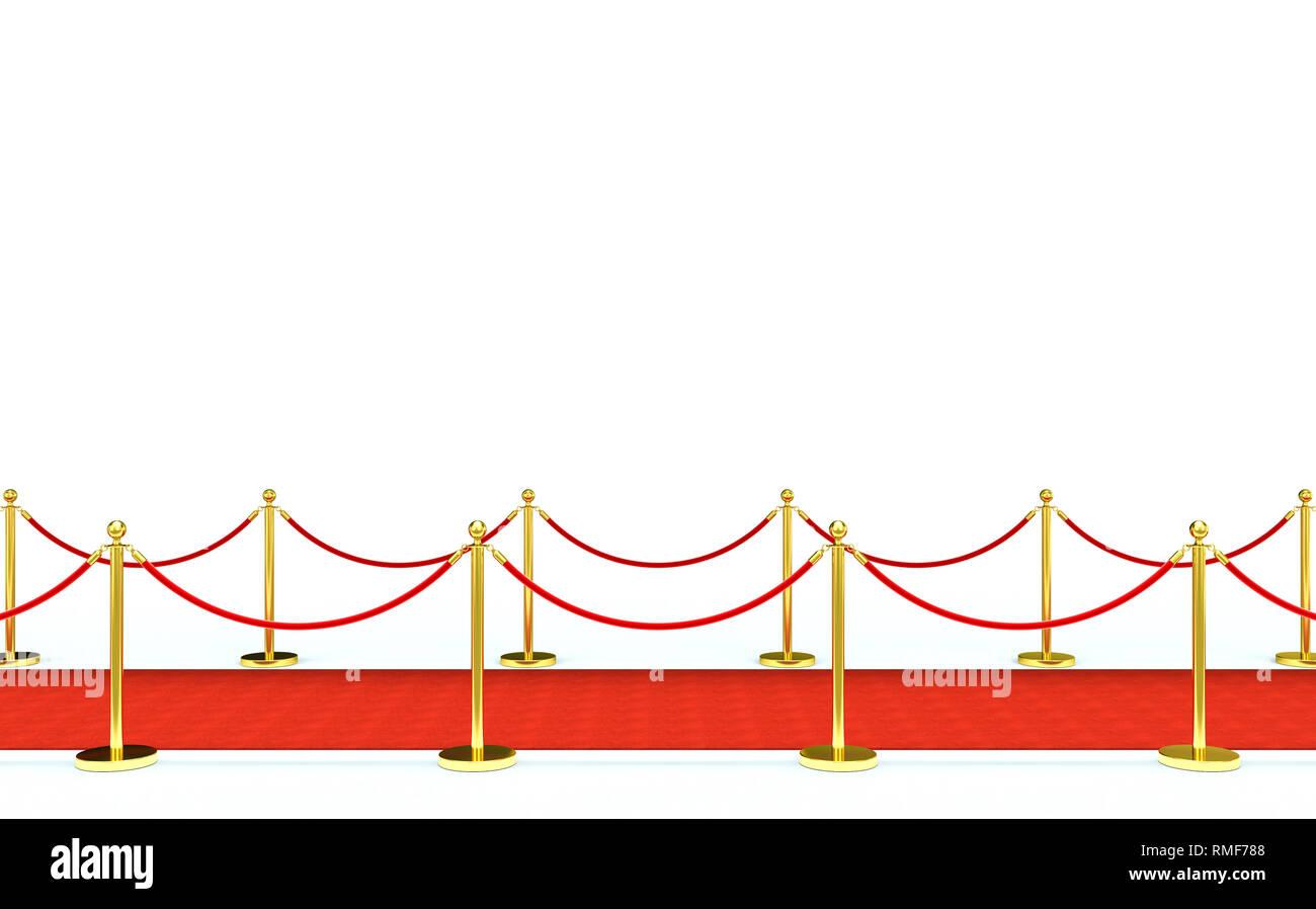 golden barrier and red carpet 3d rendering image - Stock Image