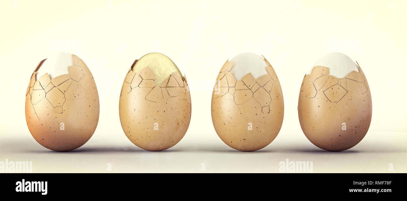 3d rendering of natural and golden eggs - Stock Image