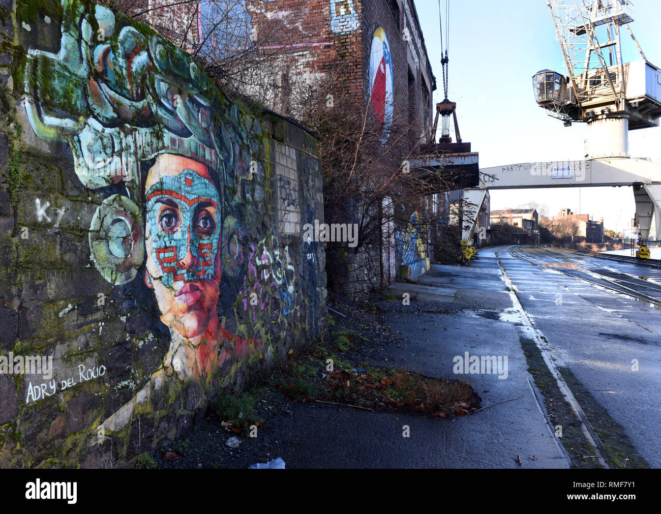 Krefeld, Germany. 11th Feb, 2019. 'Street Art Art' on a wall on the banks of the Rhine in the district of Uerdingen, which was created by the street art artist 'Adry del Ricio' as part of the event 'Rhine Side Gallery 2018' of the city of Krefeld. Credit: Horst Ossinger/dpa/Alamy Live News - Stock Image