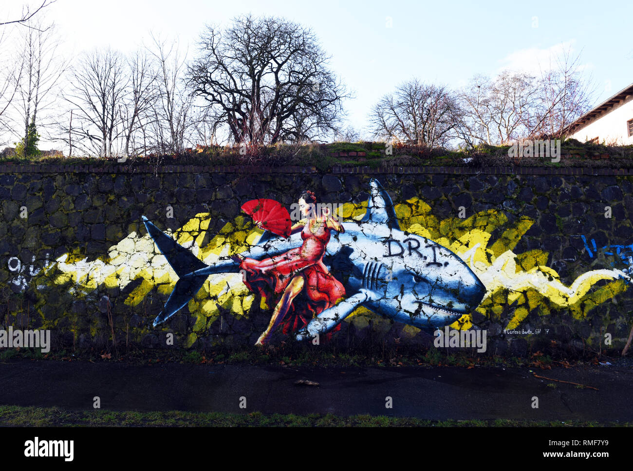 Krefeld, Germany. 11th Feb, 2019. 'Street Art Art' on a wall on the banks of the Rhine in the district of Uerdingen, which was created by the street art artist 'Carlos Alberto Rocio' as part of the 'Rhine Side Gallery 2018' event of the city of Krefeld. Credit: Horst Ossinger/dpa/Alamy Live News - Stock Image