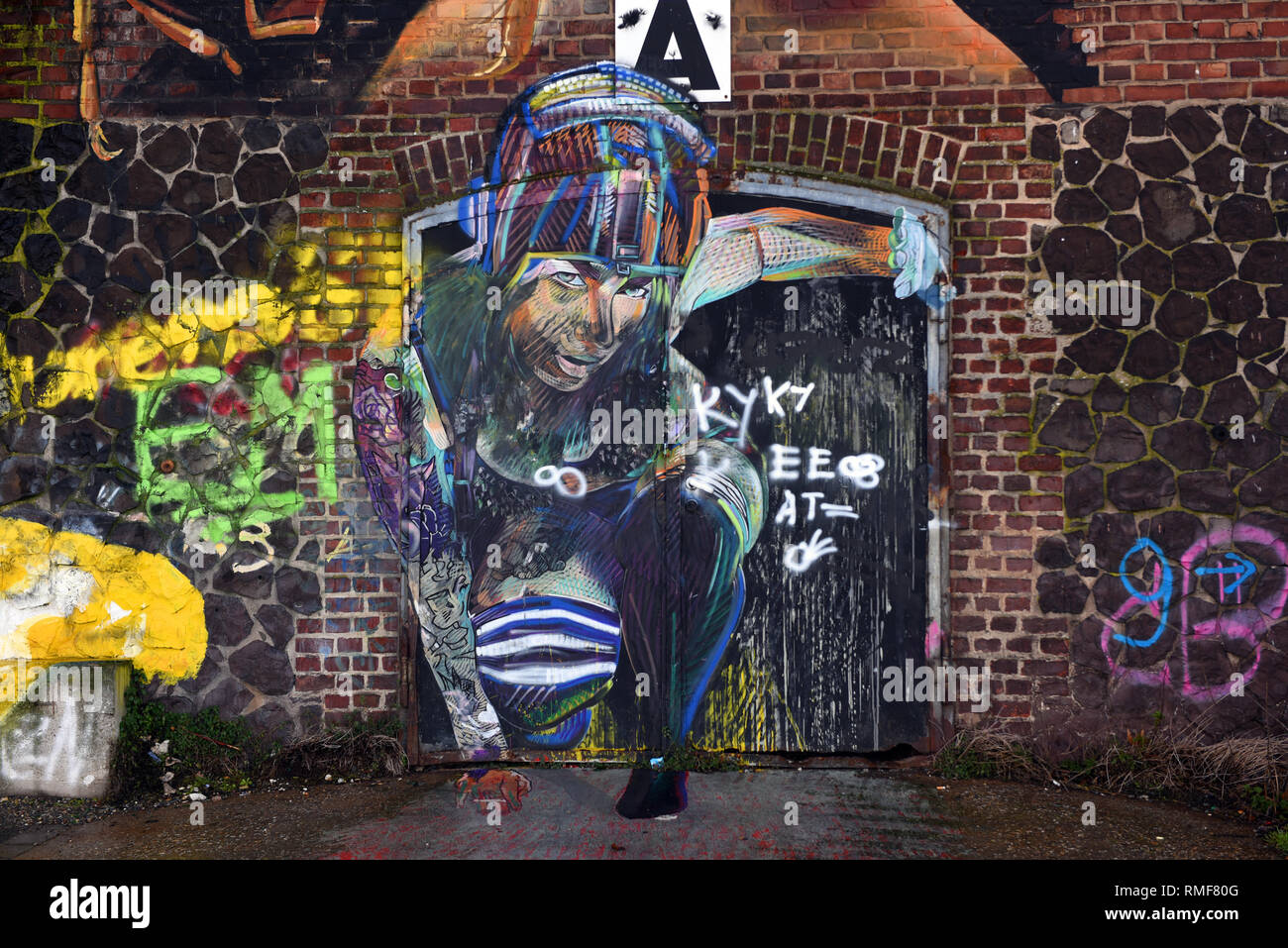 Krefeld, Germany. 11th Feb, 2019. 'Street Art Art' at a warehouse on the banks of the Rhine in the district of Uerdingen, which was created by the street art artist 'Adry del Rocio' as part of the event 'Rhine Side Gallery 2018' of the city of Krefeld. Credit: Horst Ossinger/dpa/Alamy Live News - Stock Image