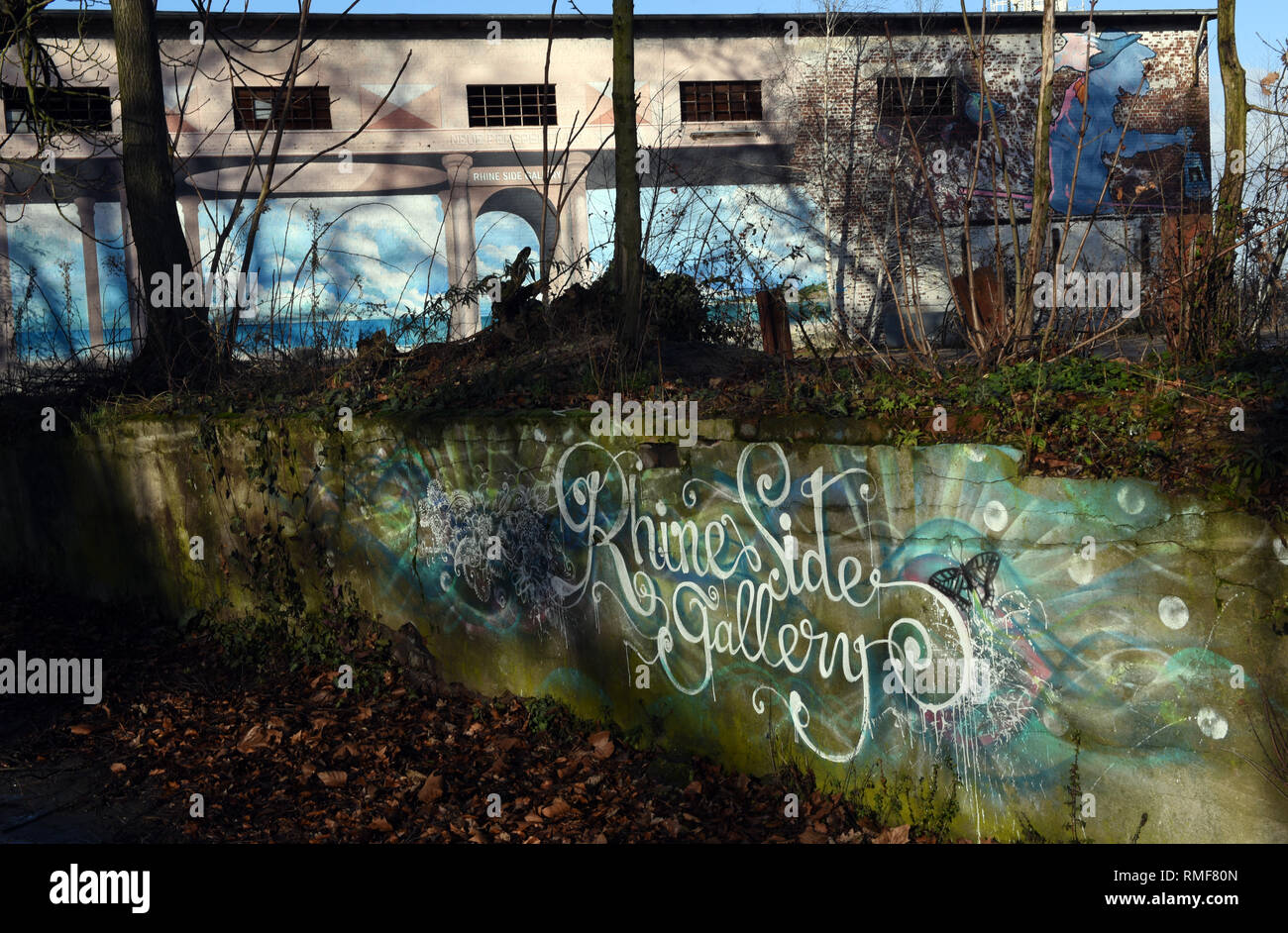 Krefeld, Germany. 11th Feb, 2019. The logo of the 'Rhine Side Gallery' on a wall in front of the Gallery building on the banks of the Rhine in the district of Uerdingen. Credit: Horst Ossinger/dpa/Alamy Live News - Stock Image