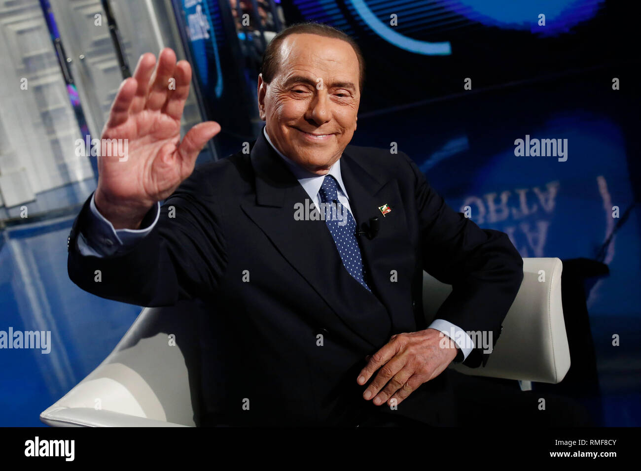 Porta Tv Lazio.Rome Italy 14th Feb 2019 Silvio Berlusconi Rome February