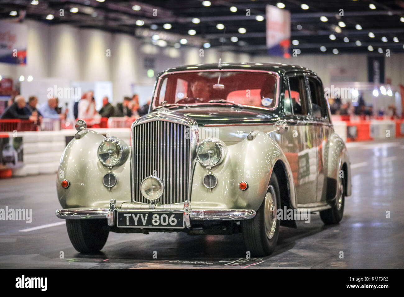 excel, london, uk, 14th feb 2019. a vintage bentley races down the