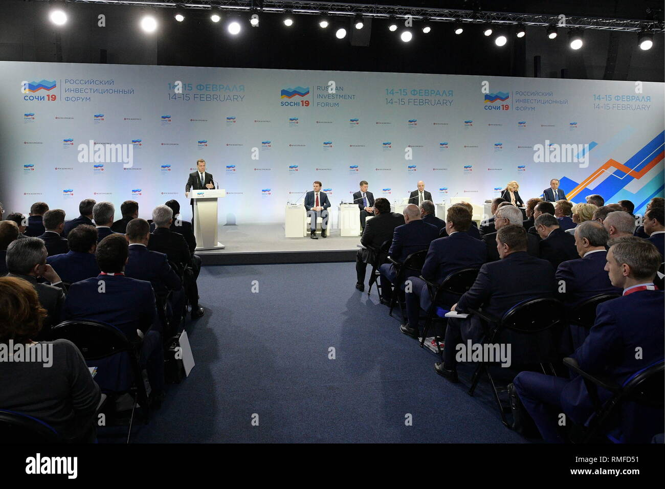 Sochi, Russia. 15th Feb, 2019. SOCHI, RUSSIA - FEBRUARY 15, 2019: Russia's Prime Minister Dmitry Medvedev (L back) addresses regional leaders during a meeting at the Galaxy Social and Cultural Centre of the Rosa Khutor Resort as part of the 2019 Russian Investment Forum in Sochi. Dmitry Astakhov/Russian Government Press Office/TASS Credit: ITAR-TASS News Agency/Alamy Live News - Stock Image
