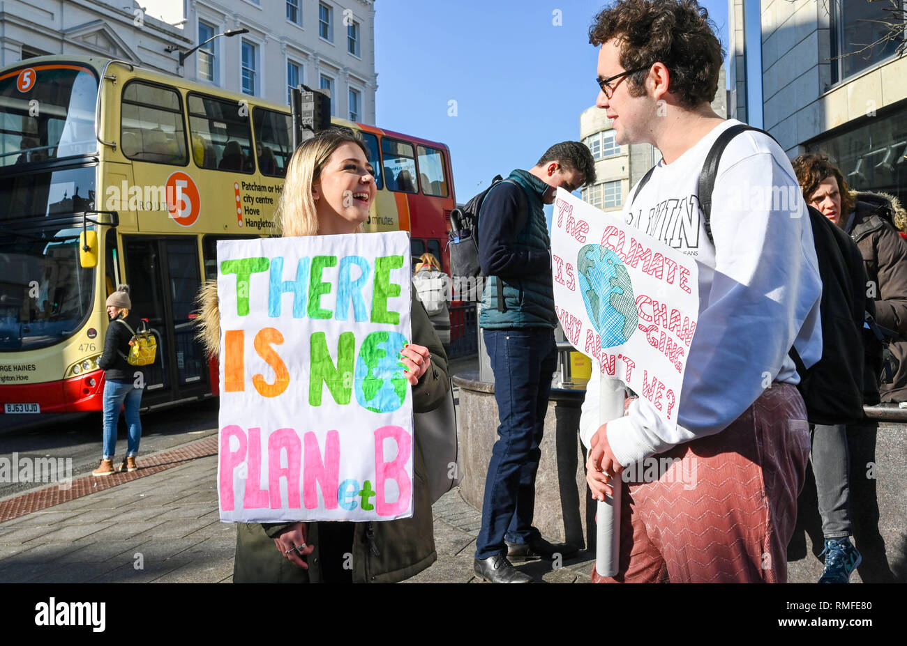 Brighton, UK. 15th Feb, 2019. Students start to gather in Brighton to take part in the Youth Strike 4 Climate protest today as part of a coordinated day of national action. Credit: Simon Dack/Alamy Live News Stock Photo
