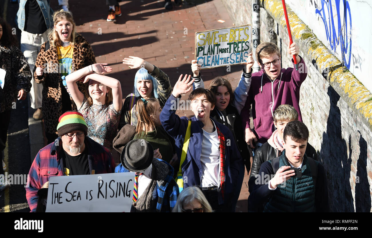 Brighton, UK. 15th Feb, 2019. Thousands of students and schoolchildren in Brighton take part in the Youth Strike 4 Climate protest today as part of a coordinated day of national action. Thousands of students are set to go on strike at 11am on Friday as part of a global youth action over climate change and the strikes are taking place in over 30 towns and cities across the country Credit: Simon Dack/Alamy Live News - Stock Image