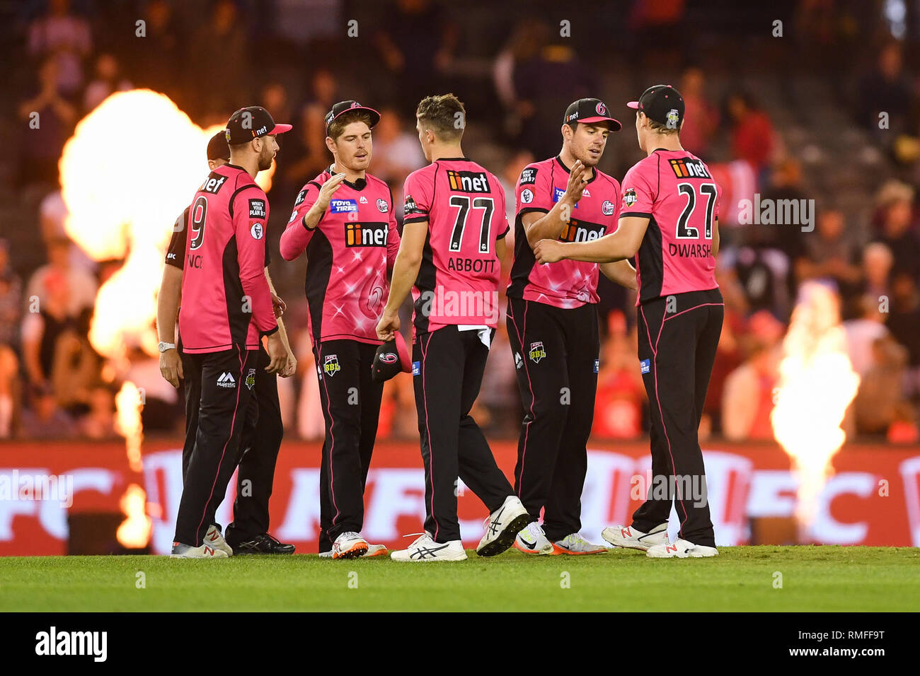 Marvel Stadium, Melbourne, Australia. 15th Feb, 2019. Australian Big Bash Cricket League, Melbourne Renegades versus Sydney Sixers; Sydney players consolidate each other after losing the game Credit: Action Plus Sports/Alamy Live News - Stock Image