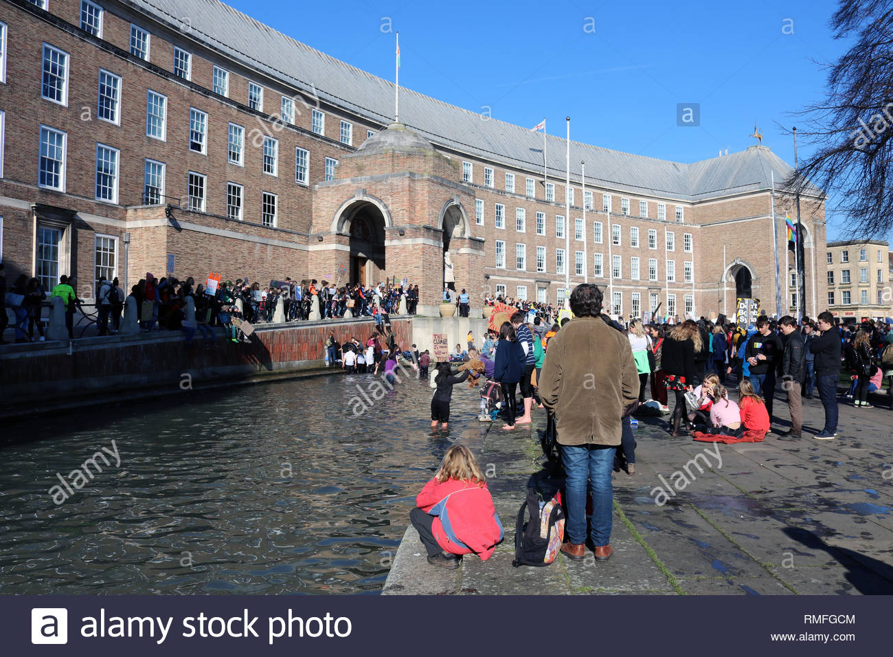 Bristol City Centre,UK. 15th February 2019. Students go on strike and protest against climate change on a Friday afternoon as part of theYouth Strike 4 Climate protest movement. Credit: Joseph Landers/Alamy Live News - Stock Image
