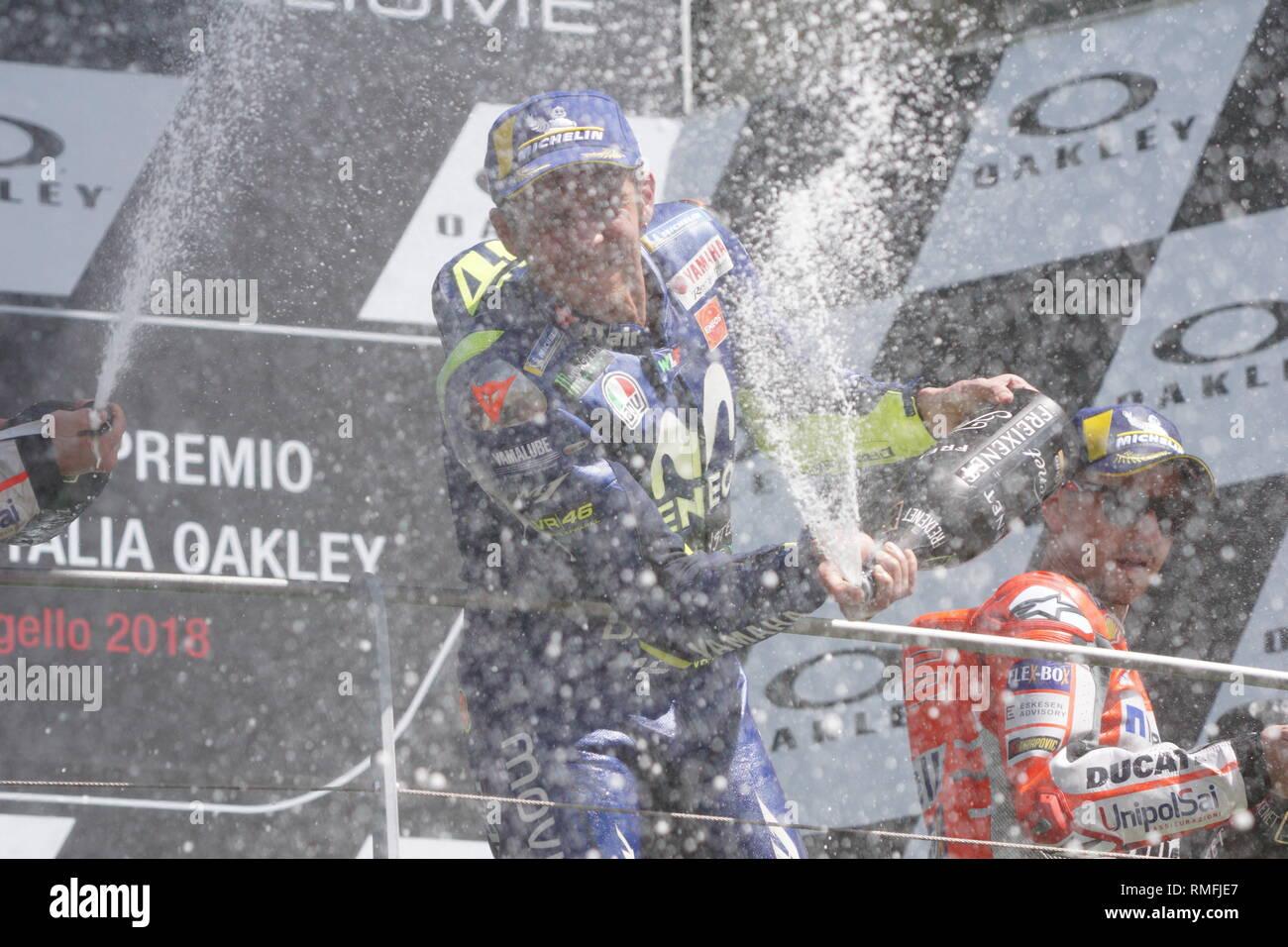 Foto Alessandro La Rocca/LaPresse 03-06-2018,    GRAN PREMIO D'ITALIA Oakley Sport-Motociclismo-MotoGP  GRAN PREMIO D'ITALIA Oakley- Autodromo Internazionale del Mugello- 2018-Podium MotoGP Race nella foto:Valentino Rossi -Yamaha- 3° cl.  Photo Alessandro La Rocca/ LaPresse 2018 03 june,    GRAN PREMIO D'ITALIA Oakley Sport- MotoGP GRAN PREMIO D'ITALIA Oakley- Autodromo Internazionale del Mugello- 2018-Podium MotoGP Race in the photo:Valentino Rossi -Yamaha- 3° cl. Stock Photo