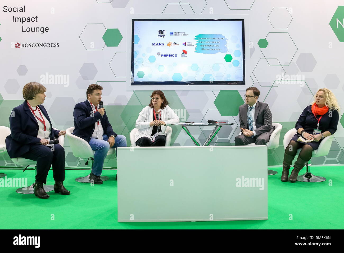 SOCHI, RUSSIA - FEBRUARY 15, 2019: Chief Specialist at Tretyakov Gallery Yelena Gerasimova (L), the President of the Soyedineniye Fund for the blind-and-deaf/Chairman of the Council of Russia's Forum of Donors, Dmitry Polikanov (2nd L), the Head of the All-Russian Organisation for the Parents of Children with Disabilites, Yelena Klochko (C), Russia's Deputy Minister of Labour and Social Protection Grigory Lekarev (2nd R), and the Director of the Obraz Zhizni charity fund, Yelena Beregovaya (R) at the session 'Social Inclusion of Individuals with Mental Disabilities: ' at the 2019 Russian Inves - Stock Image