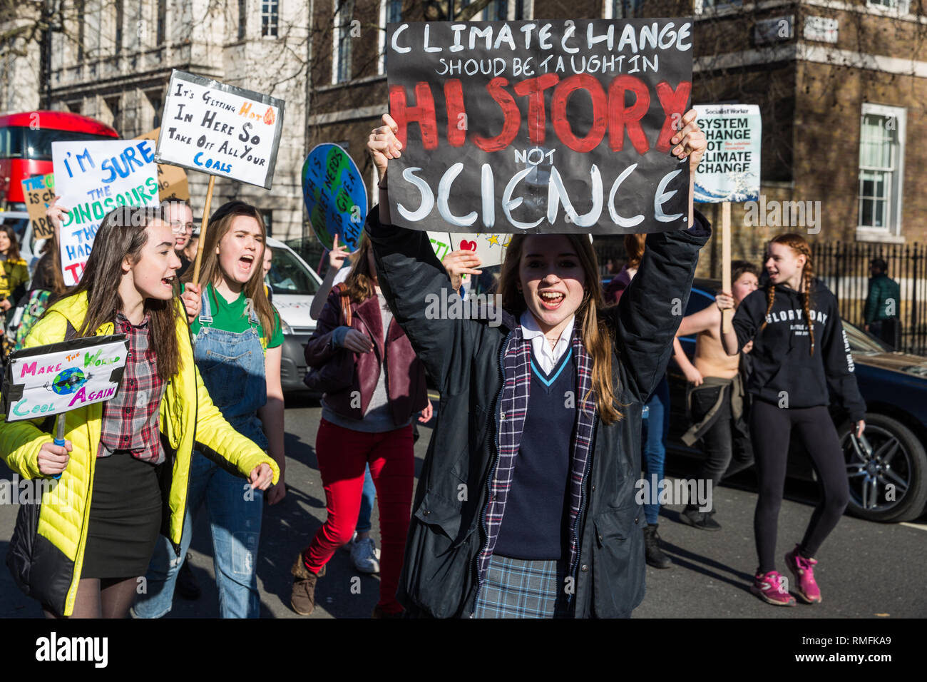 London, UK. 15th February, 2019. Thousands of students take part in a YouthStrike4Climate for Climate Day. After gathering in Parliament Square, students blocked streets around Westminster. Strike events involving schools all over the UK were organised by UK Student Climate Network and the UK Youth Climate Coalition to demand that the Government declare a climate emergency and take positive steps to address the climate crisis, including highlighting the issue as part of the school curriculum. Credit: Mark Kerrison/Alamy Live News Stock Photo