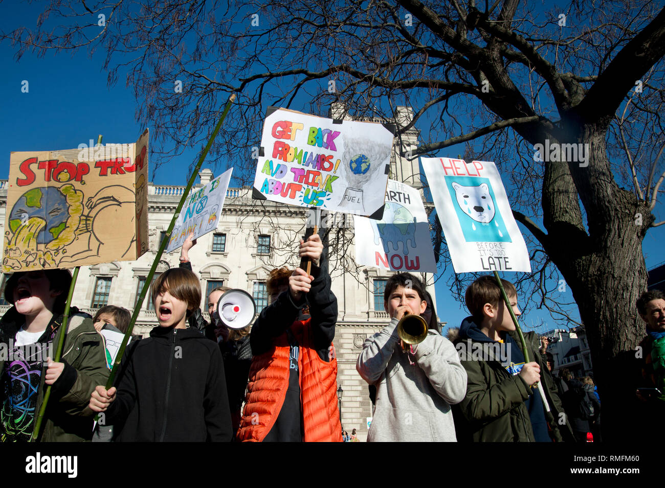 London, UK. 15th Feb, 2019. Thousands of schoolchildren and young people in the UK have taken part in climate strikes, walking out of school to protest at government inaction on climate change as part of a global campaign for action on climate change.The school strikes have been inspired by young Swedish activist Greta Thurnberg who since August 2018 has been protesting on Fridays. In London several thousands children and students gathered in Parliament Square, Westminster. Credit: Jenny Matthews/Alamy Live News Stock Photo