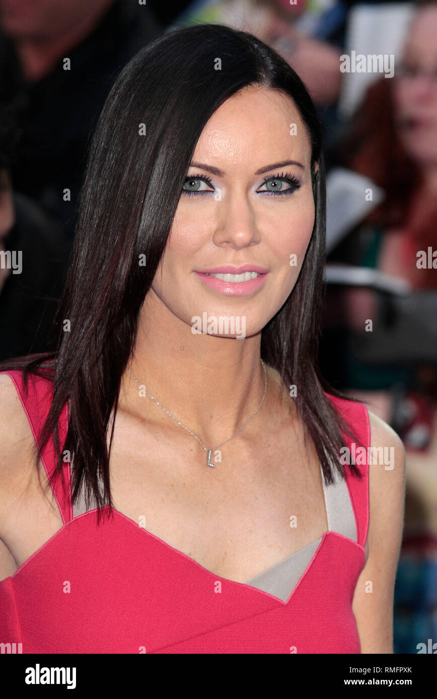 London, UK, 12th May 2014 Linzi Stoppard arrives at the UK Premiere of 'X-Men: Days Of Future Past' at Odeon Leicester Square in London, England - Stock Image