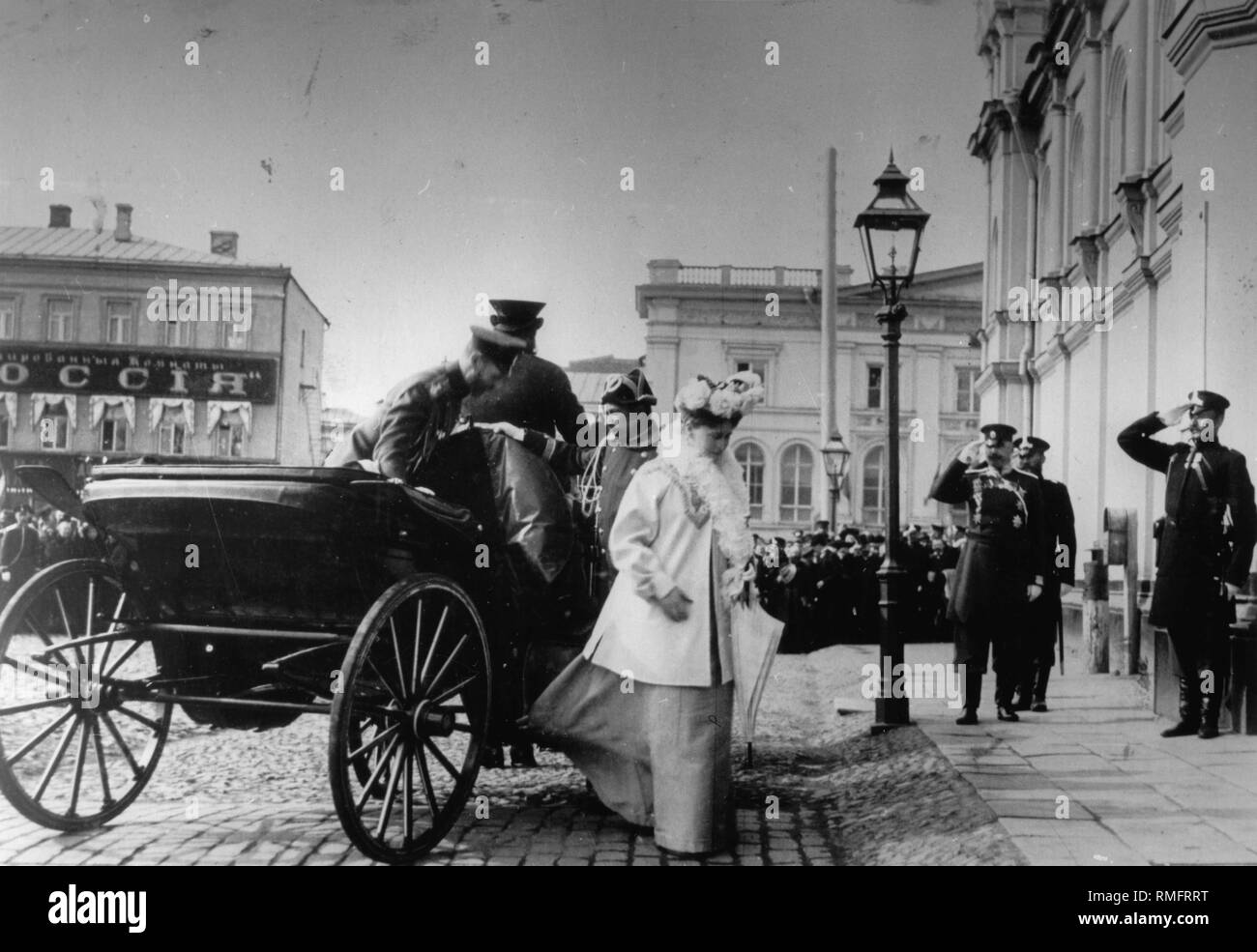Arrival of Tsar Nicholas II and Tsarina Alexandra Fyodorovna in the Strastnoy Monastery in Moscow. Silver Gelatin Photography Stock Photo