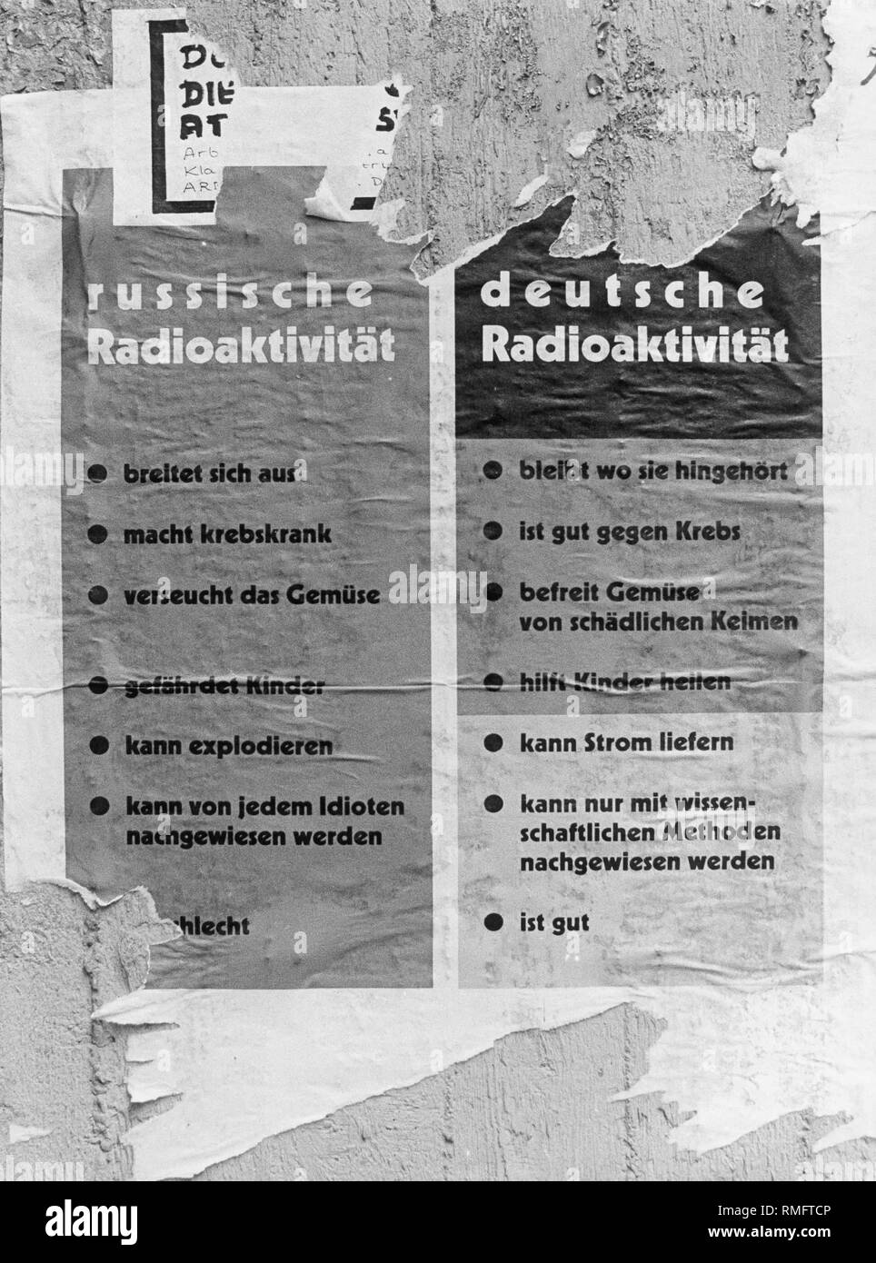 A comparison of Russian and German radioactivity in response to the political statement following the Chernobyl nuclear disaster. - Stock Image