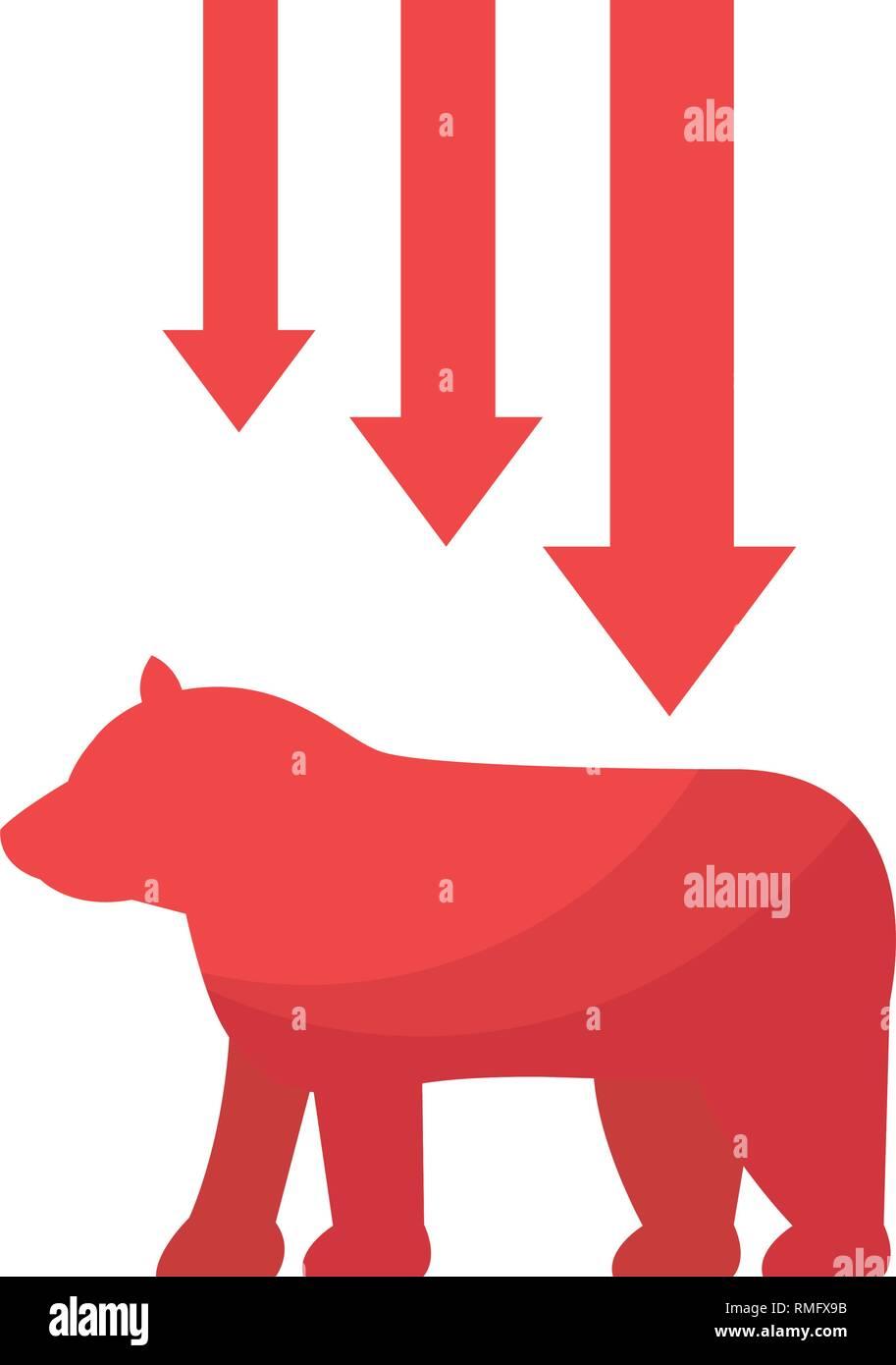 bear downtrend stock market symbol Stock Vector