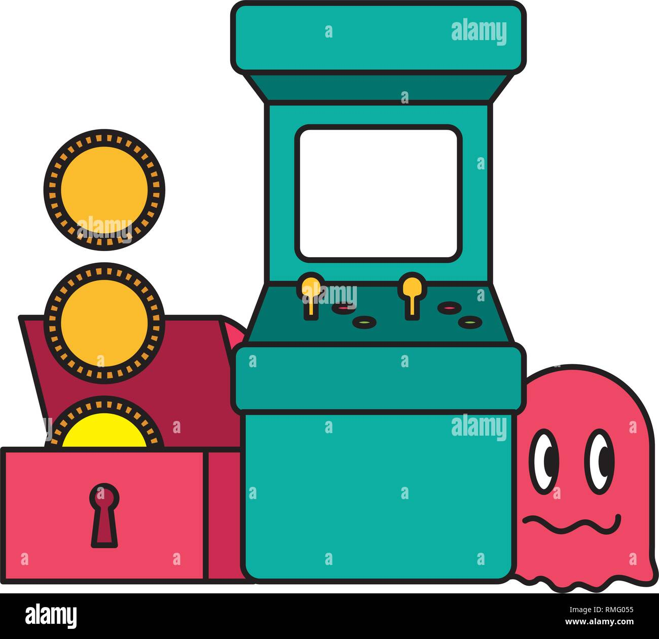 arcade chest coins ghost video game - Stock Vector