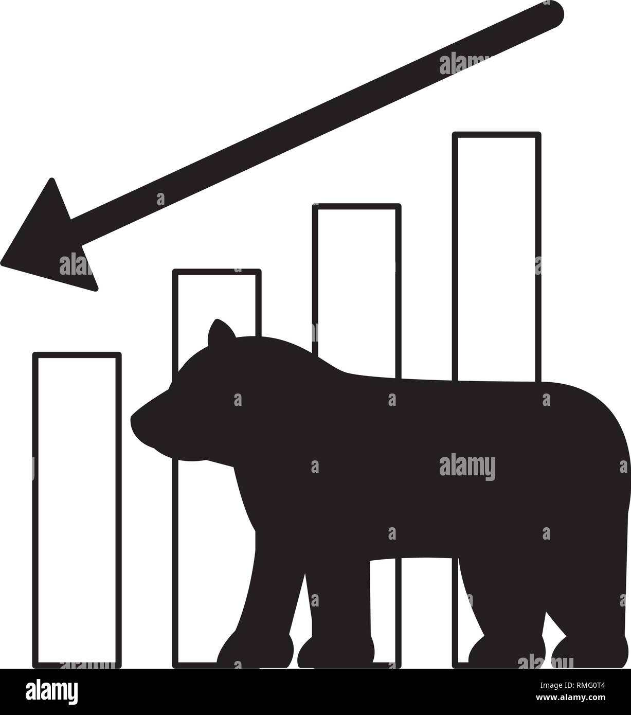 bear downtrend stock market symbol Stock Vector