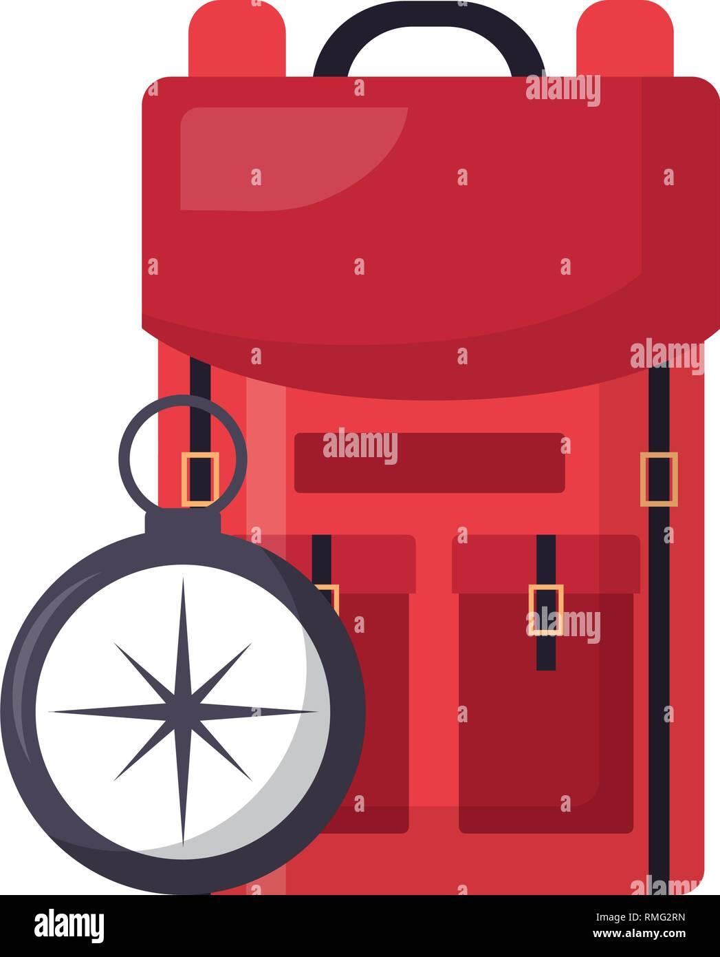 backpack compass navigation travel - Stock Image