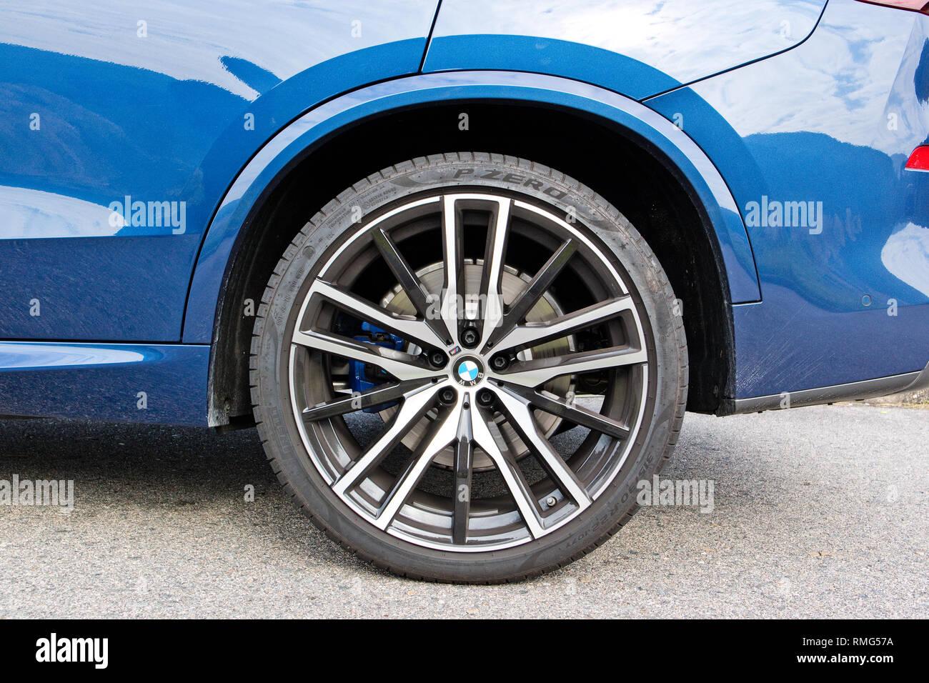 Hong Kong, China Dec 31, 2018 : BMW X5 2018 Wheel Dec 31 2018 in Hong Kong. - Stock Image
