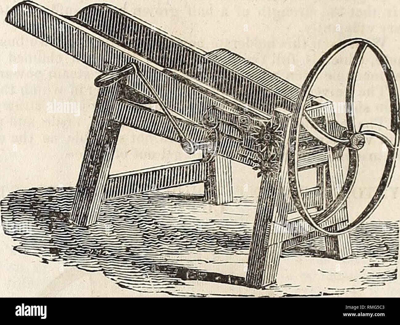 . Annual catalogue of the New England Agricultural Warehouse and Seed Store, connected with the New England Farmer Office, No. 51 & 52 North Market Street, Boston. 44 J. Breck §? Co.'s Catalogue of WILLIS'S IMPROVED PATENT VERTICAL HAY AND STRAW CUTTER.. This Straw and Hay Cutter which lias been in use for several years, is found from experience to be the best Machine for the pur- pose that has been invented. They are made of the best materials and workmanship: constructed on the best mechanical principles. The knives being placed in such a manner, as to operate as a drawing stroke ; cuts  - Stock Image