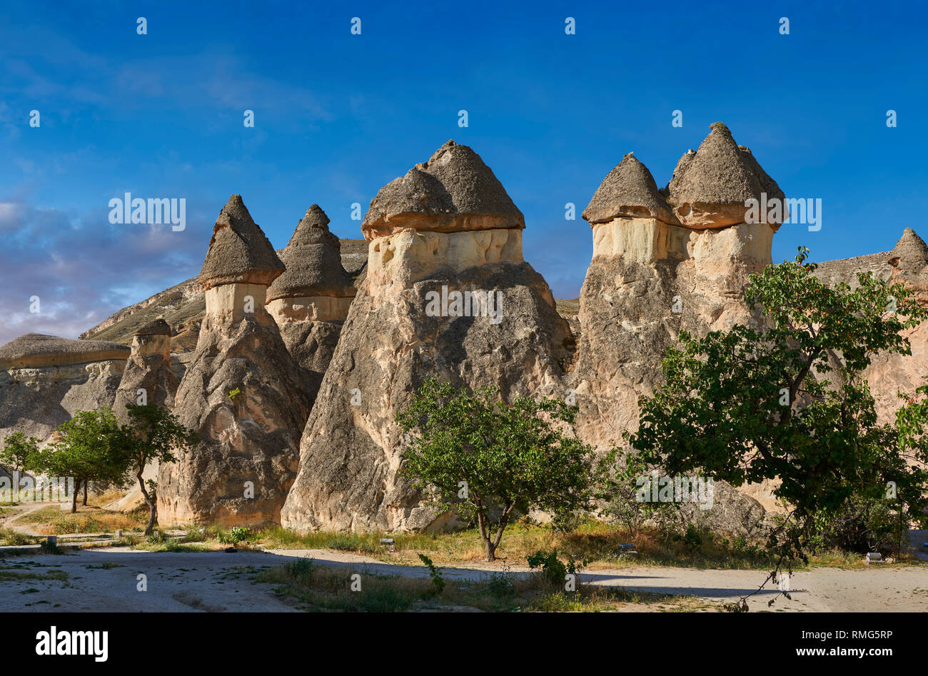 """Pictures & images of the fairy chimney rock formations and rock pillars of """"Pasaba Valley"""" near Goreme, Cappadocia, Nevsehir, Turkey - Stock Image"""