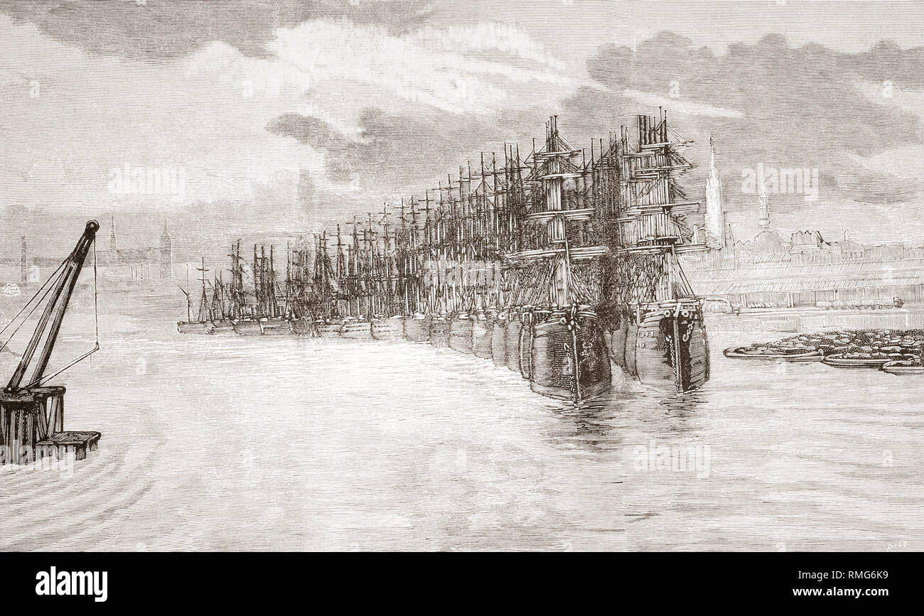 The commercial blockade in the River Elbe during the fifth cholera pandemic, 1881 - 1896.  From La Ilustracion Artistica, published 1887. - Stock Image