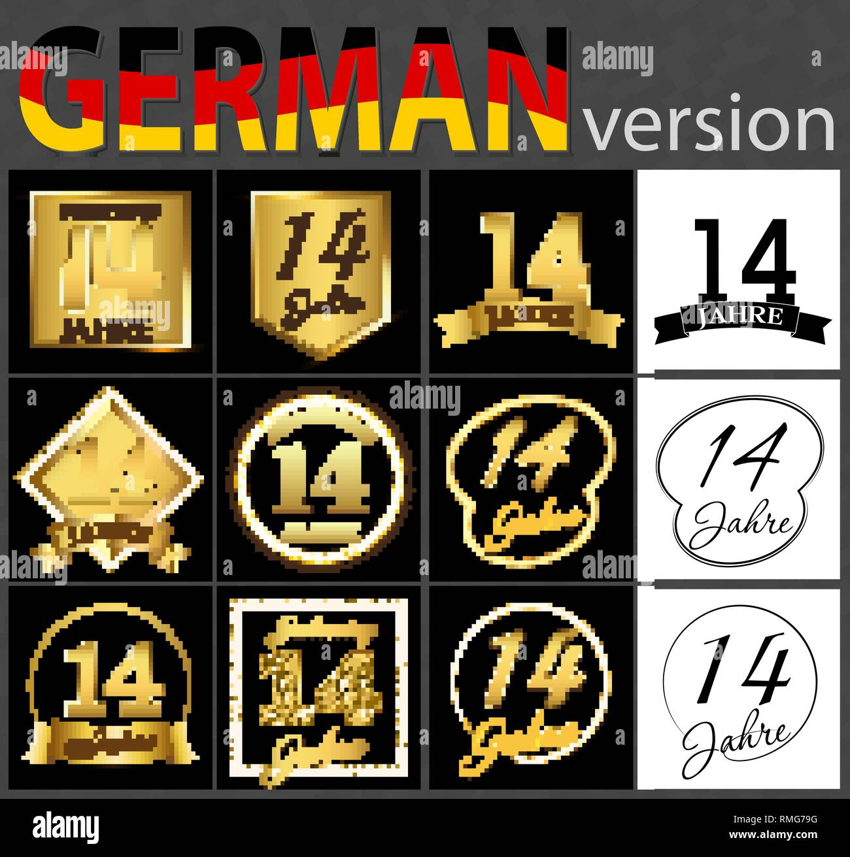 Set Of Number Fourteen Years 14 Years Celebration Design