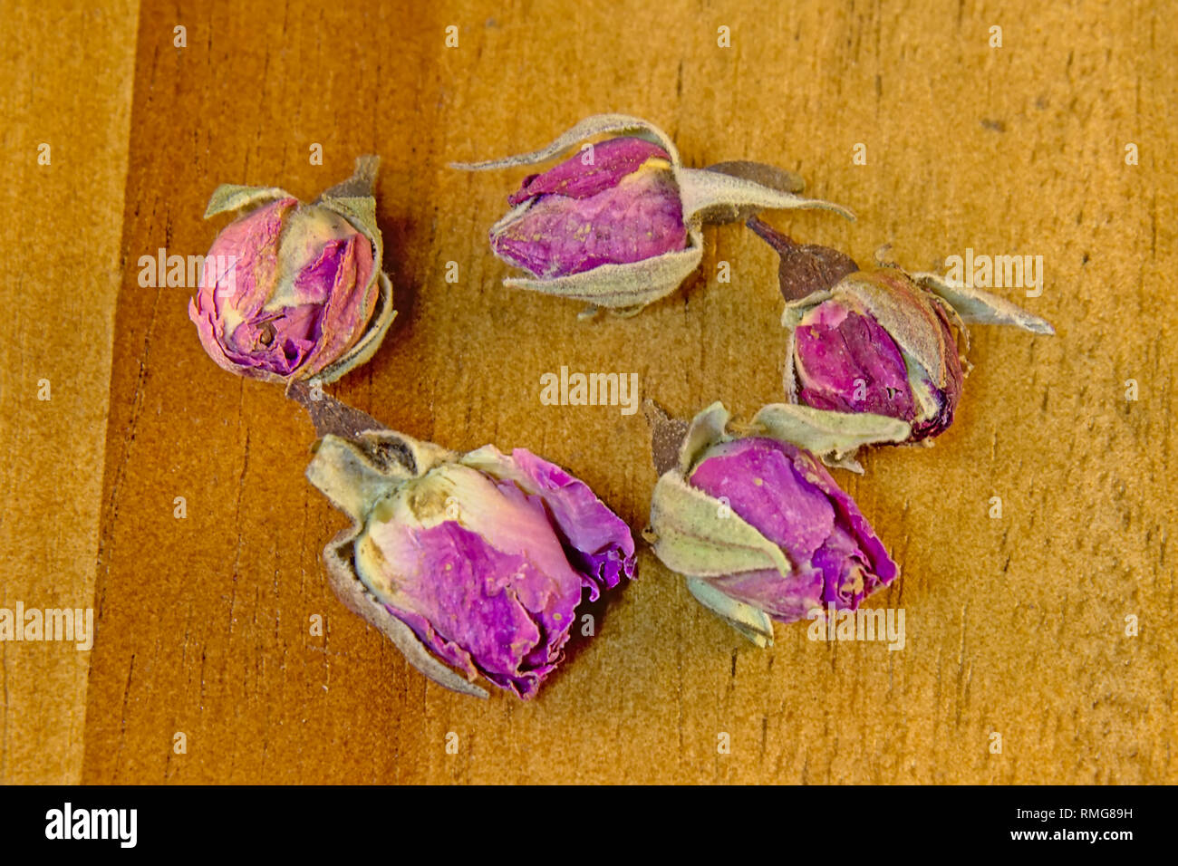 Dried pink Rose buds on wood background, overhead view - Rosaceae - Stock Image