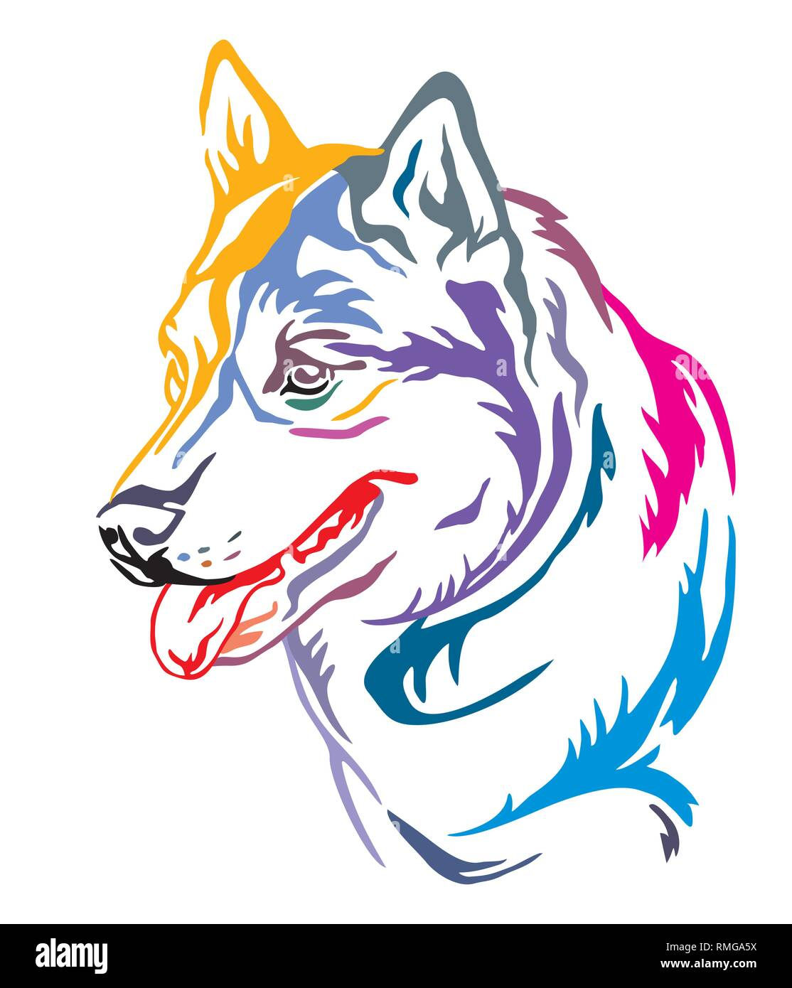Colorful decorative outline portrait of Dog Siberian Husky looking in profile, vector illustration in different colors isolated on white background. I - Stock Vector