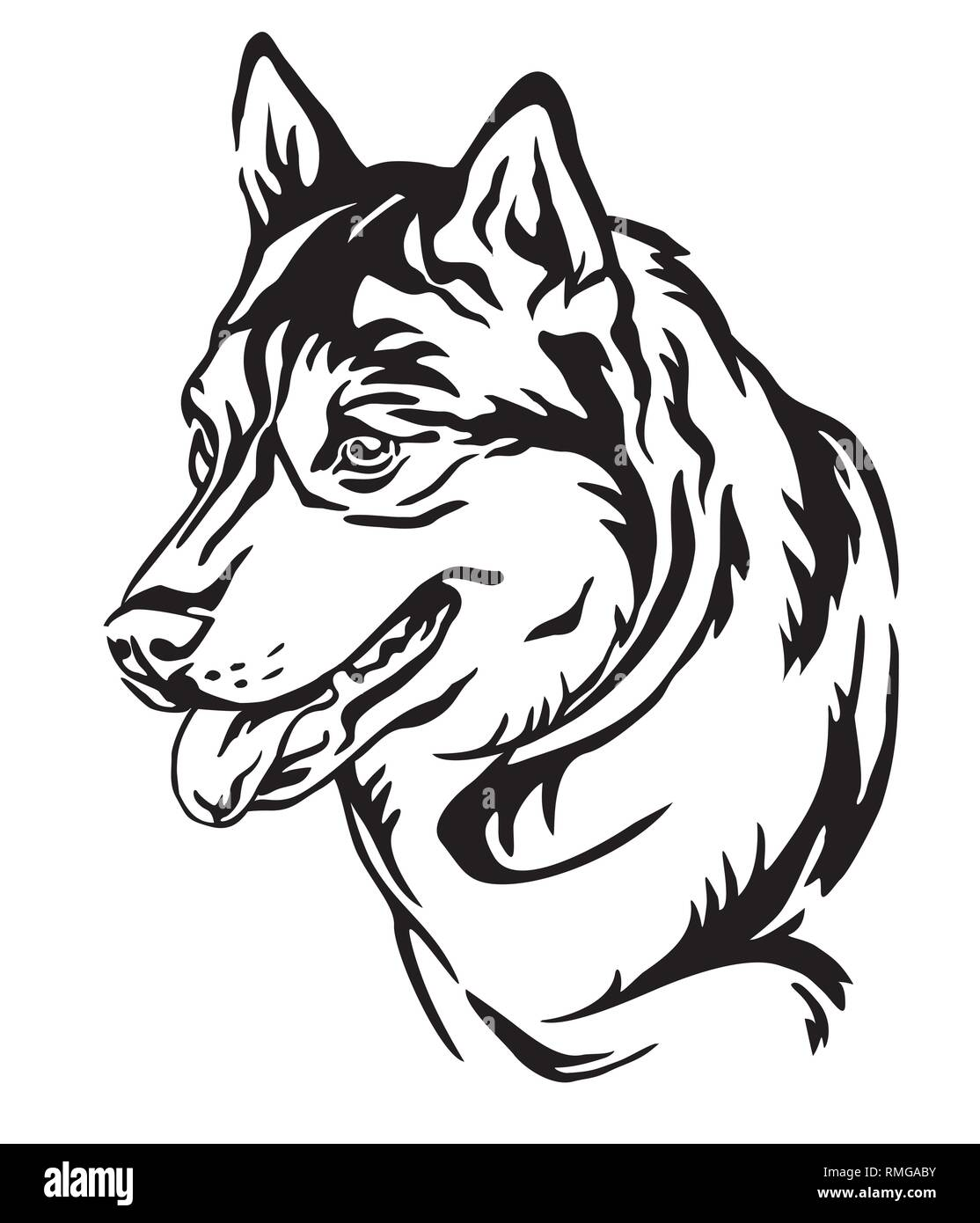 Decorative outline portrait of Dog Siberian Husky looking in profile, vector illustration in black color isolated on white background. Image for desig - Stock Vector