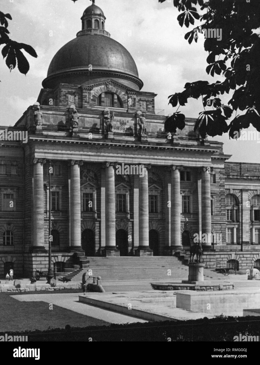 Historical photograph of the Bavarian Army Museum in Hofgarten in Munich before its destruction. Nowadays the Bavarian State Chancellery is located here. - Stock Image