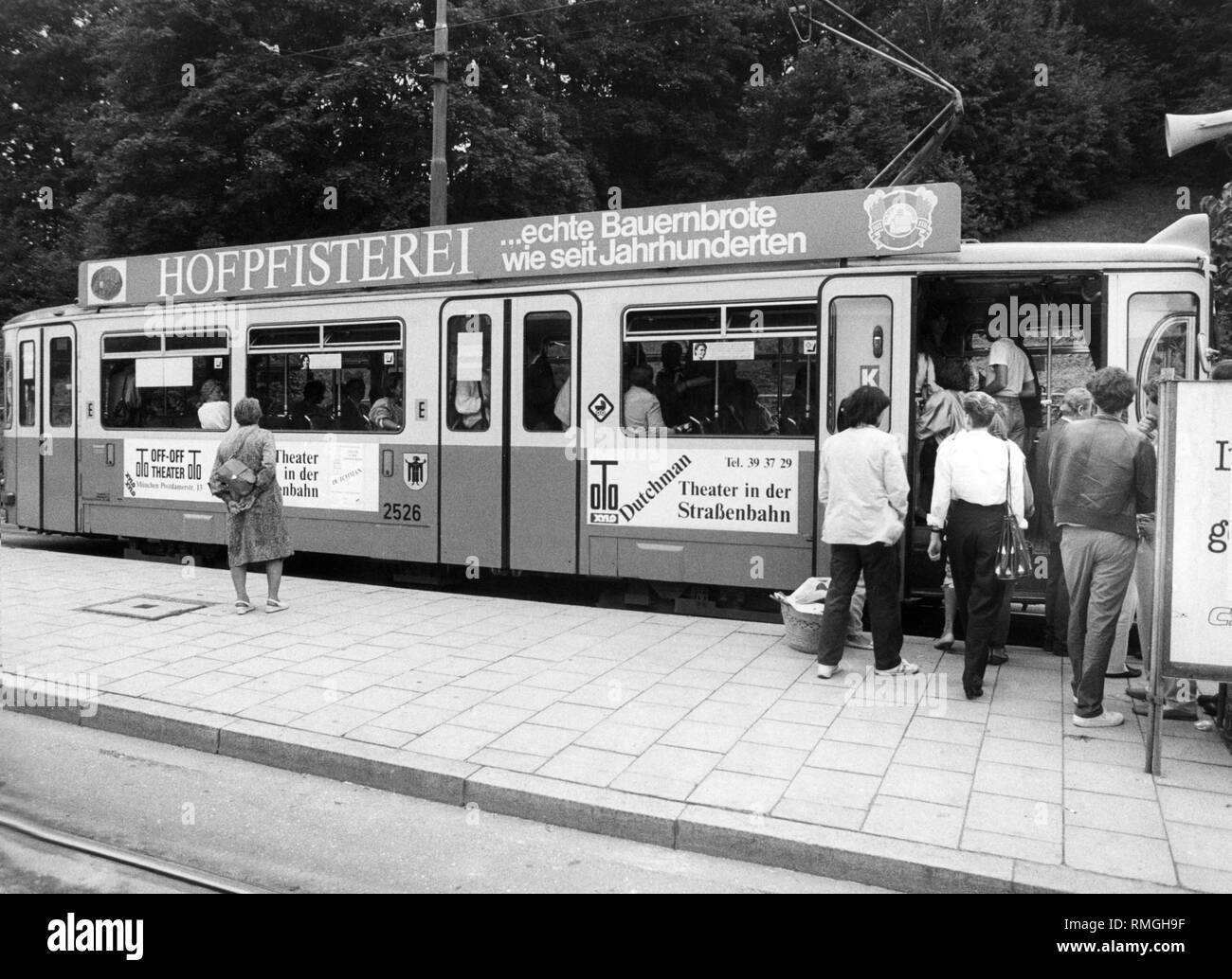 The play 'Dutchman' by LeRoi Jones is performed in the tram by the actors of the Off-Off-Theater in August and September 1986. - Stock Image