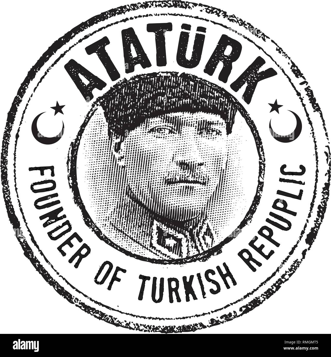Mustafa Kemal Ataturk portrait stamp in line art illustration, He was the Founder of Turkish Republic and leader. Stock Vector