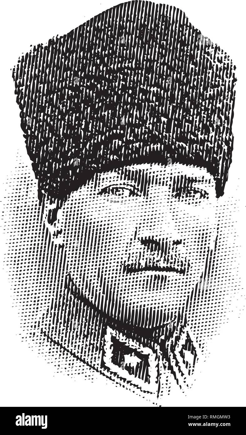 Mustafa Kemal Ataturk portrait in line art illustration, He was the Founder of Turkish Republic and leader. Stock Vector