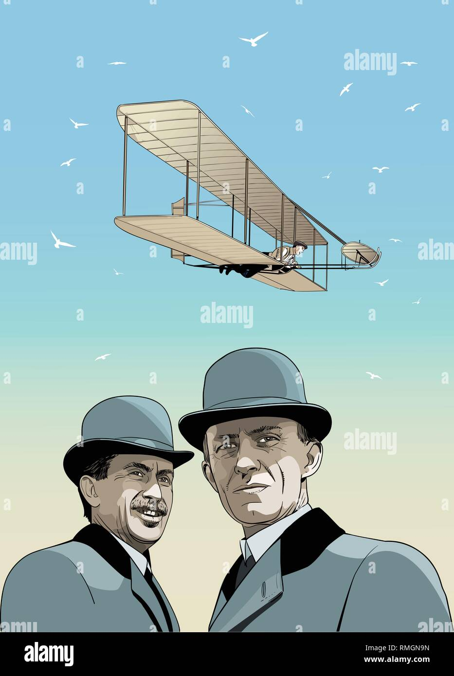 Wright Brothers portrait in line art illustration. First airplane's inventors. - Stock Vector