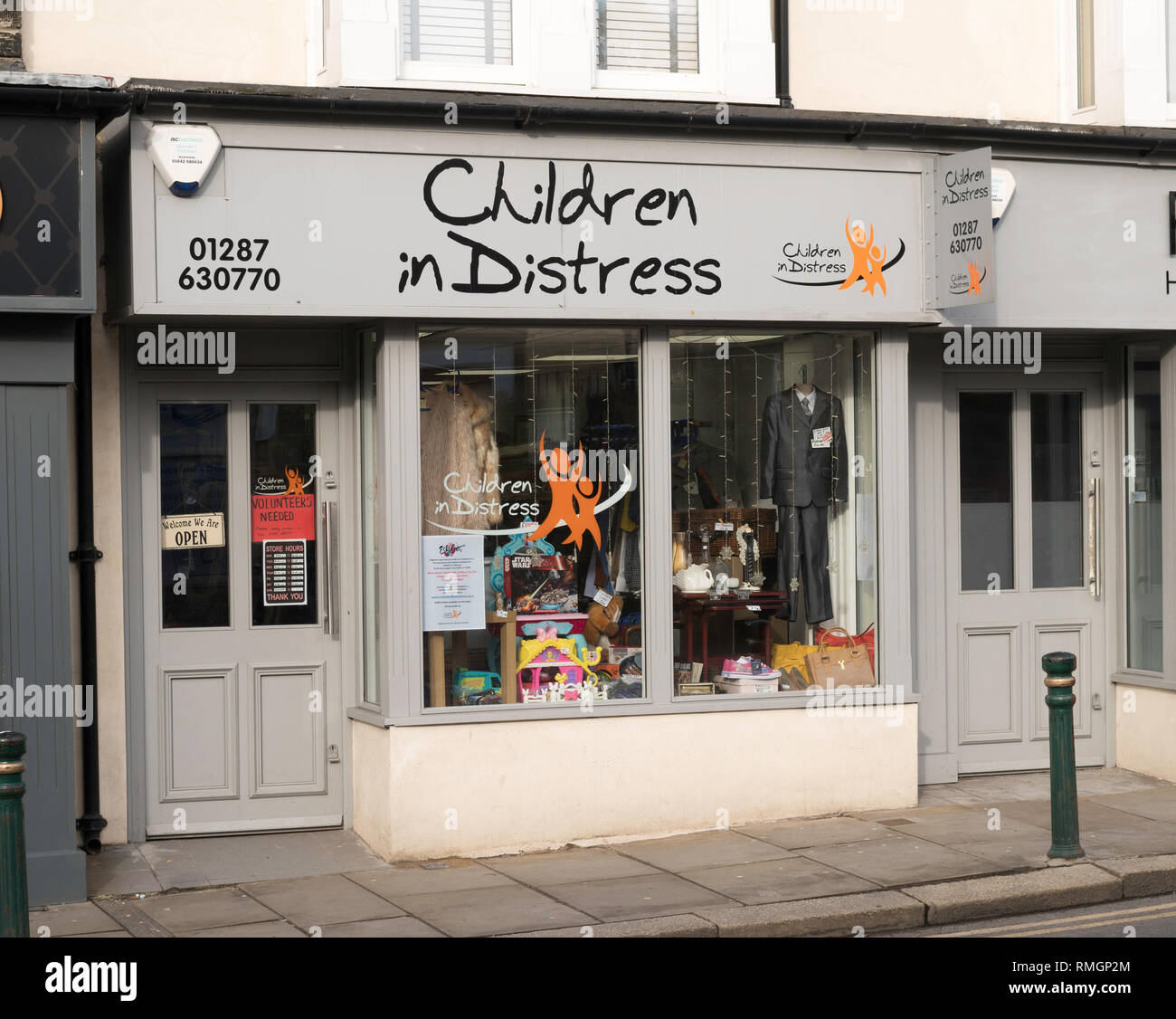 Children in Distress charity shop front in Guisborough, North Yorkshire, England, UK - Stock Image