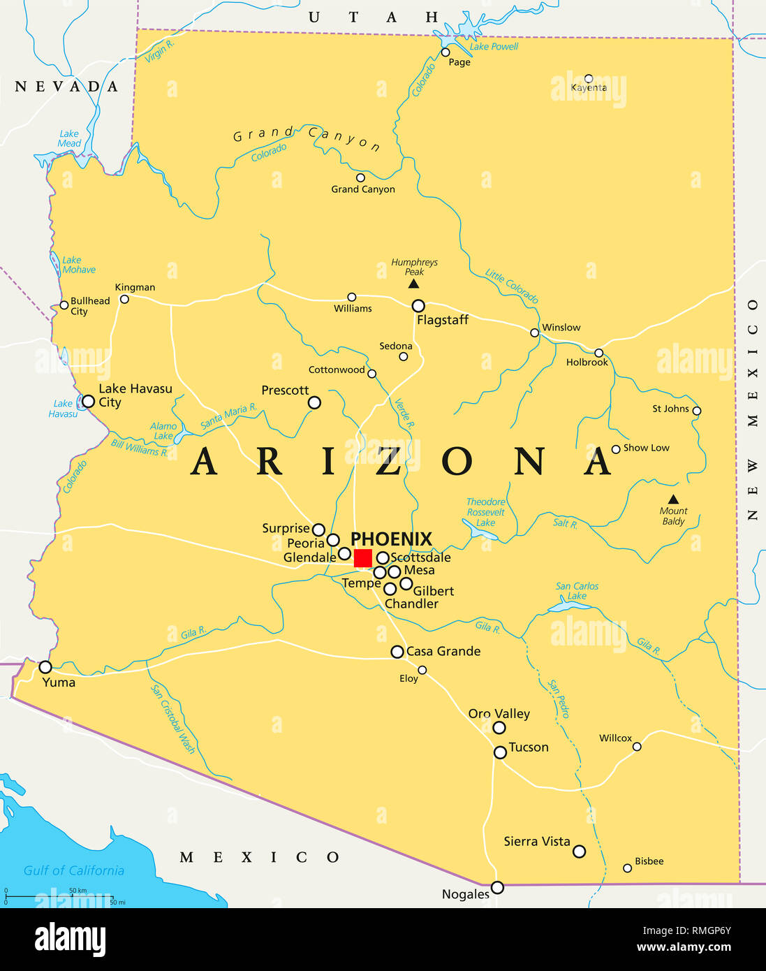 Map Of Arizona Border.Arizona Mexico Map Stock Photos Arizona Mexico Map Stock Images