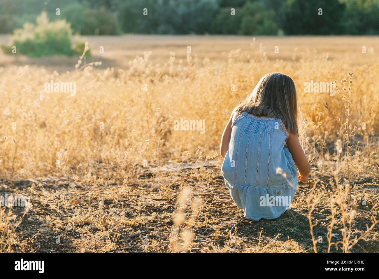 Young blonde girl crouched on the ground playing with the plants wearing a dress in the sunset field Stock Photo