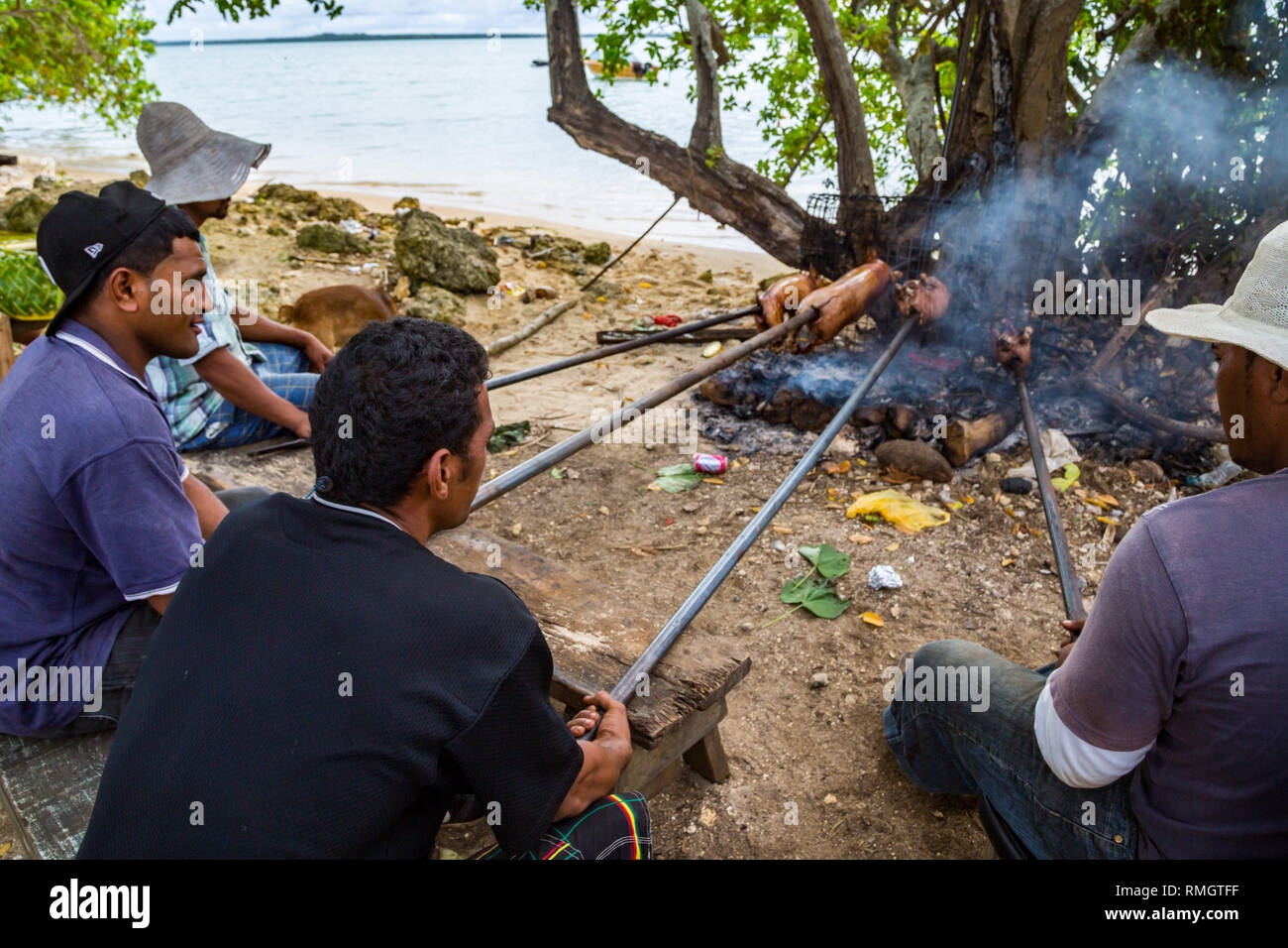Tongatapu, Tonga - Jan 10 2014: group of local native indigenous Polynesian men does a pork barbecue of small piglets on an open fire on a Tongan beac - Stock Image