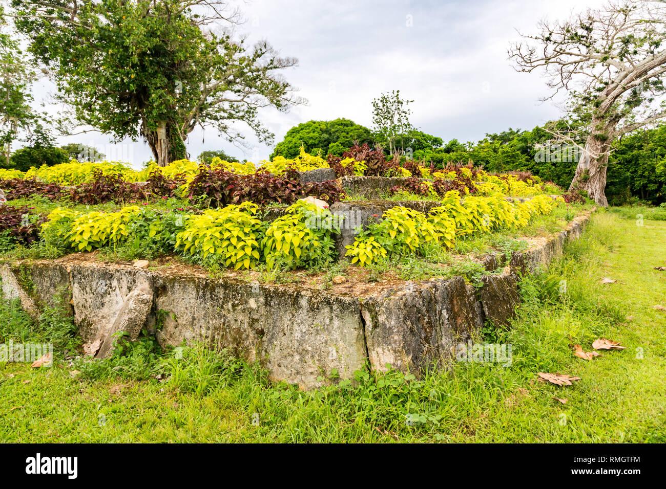 Ancient ziggurat Langi - Royal burial tomb - Lapaha, Mu'a, Tongatapu island, Tonga, Polynesia, Oceania. Stone vault, stepped pyramid, megaliths. Stock Photo
