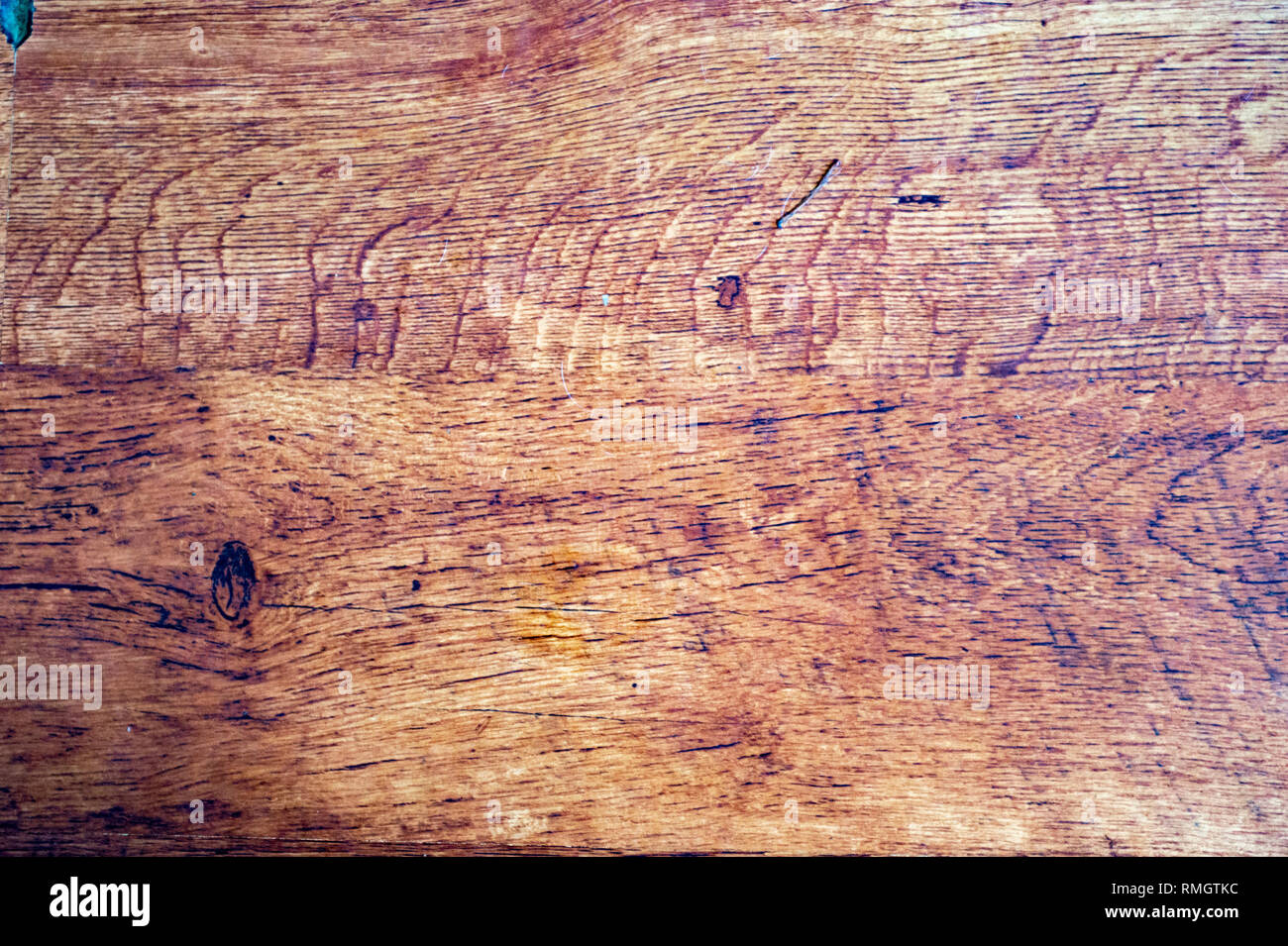 Old wood showing signs of wear and stain - - Stock Image