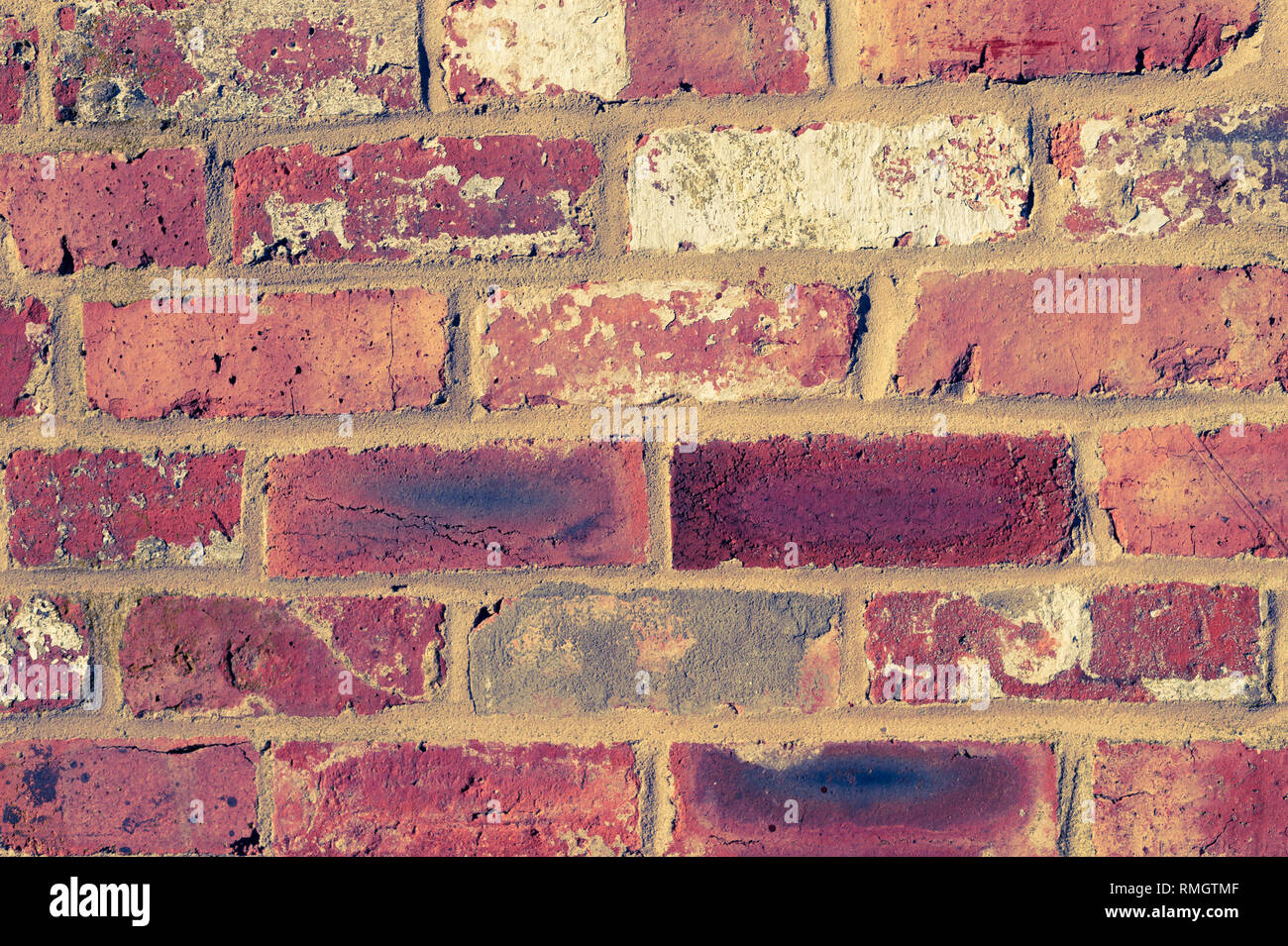 close up of a brick wall that has been build with old bricks, duo toned in yellow and blue - Stock Image