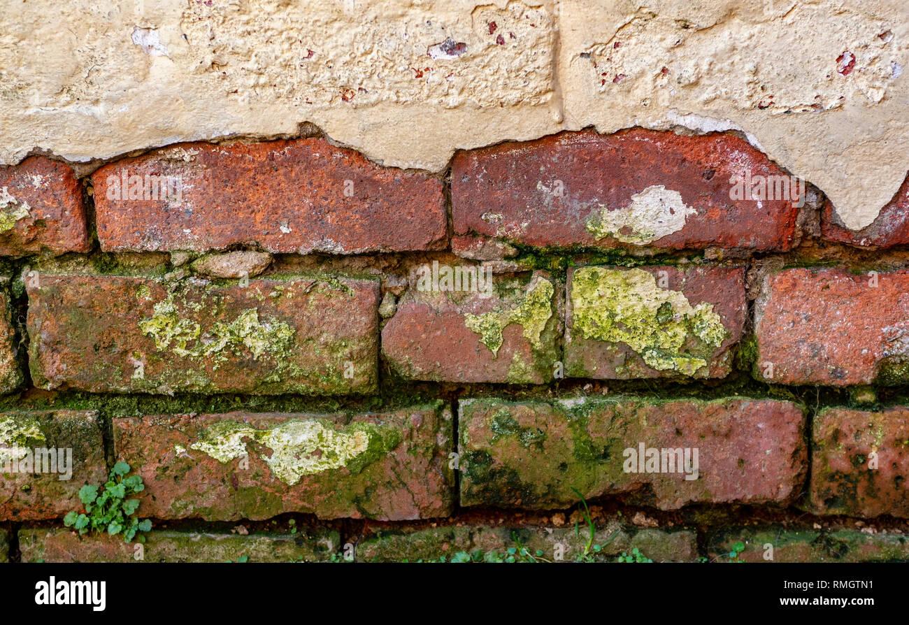 Old damaged brick work Stock Photo
